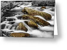 Cascading Water And Rocky Mountain Rocks Greeting Card