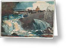 Casting In The Falls Greeting Card