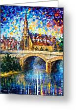 Castle By The River - Palette Knife Oil Painting On Canvas By Leonid Afremov Greeting Card