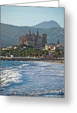 Cathedral And City Beach With People  Greeting Card