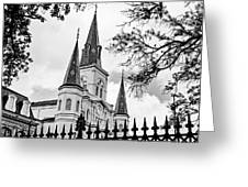 Cathedral Basilica - Square Bw Greeting Card