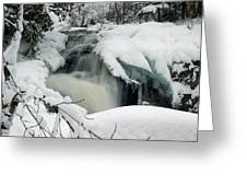 Cattyman Falls In Winter Greeting Card