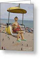 Caveman Above Beach Santa Cruz Boardwalk Greeting Card
