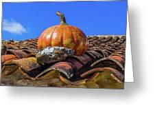 Ceramic Pumpkin On A Roof Greeting Card