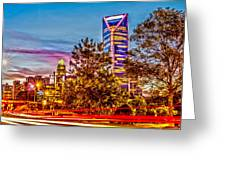Charlotte City Skyline Early Morning At Sunrise Greeting Card