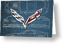 Chevrolet Corvette 3 D Badge Over Corvette C 6 Z R 1 Blueprint Greeting Card
