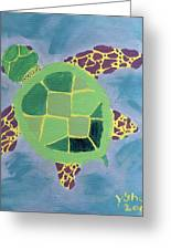 Chiaras Turtle Greeting Card by Yshua The Painter