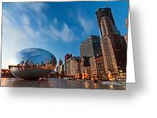 Chicago Skyline And Bean At Sunrise Greeting Card by Sven Brogren