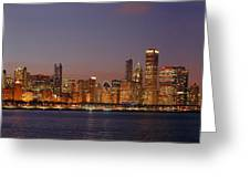 Chicago Skyline At Dusk Panorama Greeting Card