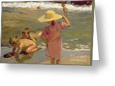 Children On The Seashore Greeting Card by Joaquin Sorolla y Bastida