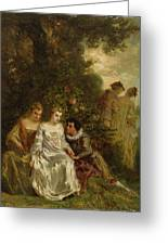 Chivalric Scene In A Park Greeting Card