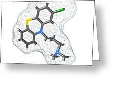 Chlorpromazine, Molecular Model Greeting Card