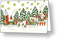 Christmas Picture In Green And Yellow Colours Greeting Card