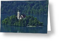 Church Of Mary On Bled Island Greeting Card