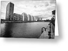 city lofts and nv buildings salford quays Manchester uk Greeting Card