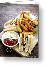 Classic Club Sandwich With Fries On Wooden Board Greeting Card