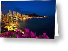Classic Waikiki Nightime Greeting Card by Tomas del Amo - Printscapes