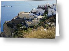 Cliff Perched Houses In The Town Of Oia On The Greek Island Of Santorini Greece Greeting Card