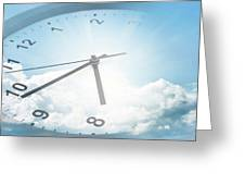 Clock In Sky 2 Greeting Card