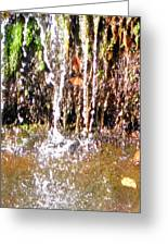 Close Up Of Waterfall Flowing Over Rocks  Greeting Card