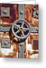 Close Up View Of An Unusual Door That Is Part Of An Old Rundown Building In Katakolon Greece Greeting Card