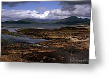 Cloud Passing Across The Cuillin Main Ridge And Bla Bheinn From Tokavaig Sleat Isle Of Skye Scotland Greeting Card