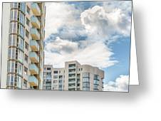 Clouds And Buildings Greeting Card