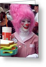 Clown With Pink Hair Greeting Card