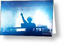 Club Dj Playing And Mixing Music For People Greeting Card