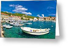 Coastal Town Of Hvar Waterfront Panorama Greeting Card