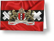 Coat Of Arms Of Amsterdam Over Flag Of Amsterdam Greeting Card