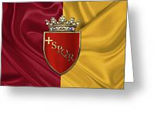 Coat Of Arms Of Rome Over Flag Of Rome Greeting Card