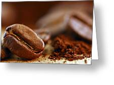 Coffee Beans And Ground Coffee Greeting Card