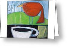Coffee With Red Bird Greeting Card