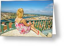 Coimbra Cityscape Woman Greeting Card