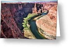 Colorado River Flows Around Horseshoe Bend  Greeting Card