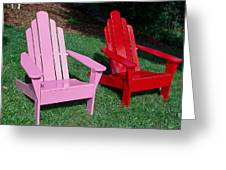 colorful Adirondack chairs Greeting Card