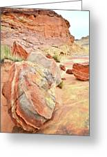 Colorful Boulders In Wash 3 In Valley Of Fire Greeting Card