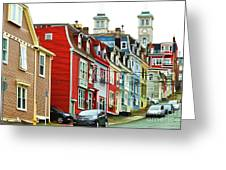 Colorful Houses In St. Johns In Newfoundland Greeting Card