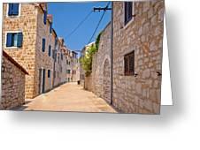 Colorful Mediterranean Stone Street Of Prvic Island Greeting Card