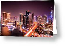 Colorful Night Dubai Marina Skyline, Dubai, United Arab Emirates Greeting Card