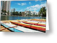 Colorful Outrigger Canoes Greeting Card