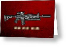 Colt  M 4 A 1  S O P M O D Carbine With 5.56 N A T O Rounds On Red Velvet  Greeting Card by Serge Averbukh