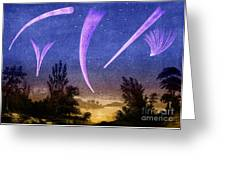 Comets In Night Sky Greeting Card