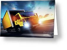 Commercial Cargo Delivery Truck With Trailer Driving On Highway At Sunset. Greeting Card