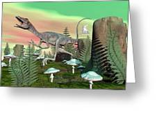 Compsognathus Dinosaur - 3d Render Greeting Card