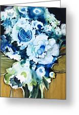 Contemporary Floral In Blue And White Greeting Card