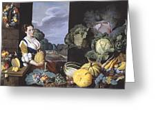 Cookmaid With Still Life Of Vegetables And Fruit Greeting Card