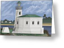 Coquille River Lighthouse At Bandon Oregon Greeting Card