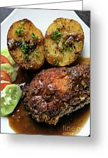 Cordon Bleu Breaded Fried Chicken Gravy And Potatoes Meal Greeting Card